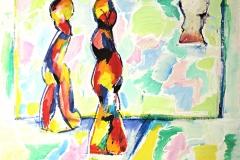 0111, rot blaue Figuren, 100x80 cm, Acryl / Hartfaserplatte