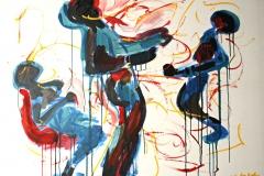 0115, Breakdance Teil 1, 1984, 125x100 cm, Öl / Leinwand