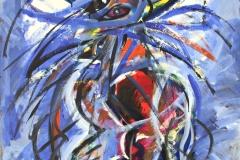 0159, Federntausch der Schönen, 1992, 80x100 cm, Acryl / Hartfaserplatte