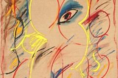 0160, Auge auf alter Leinwand, 1973, 85x100 cm, Acryl / Leinwand