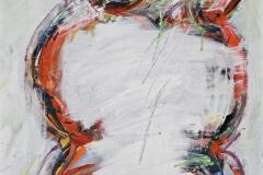 0222, Figur mit grossen Augen, 1973, 44x61 cm, Acryl / Hartfaserplatte