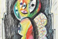 15164, Noch ein Besuch in der Galerie, Augen Figur, Wachskreiden/Papier, 1972, 63x44 cm