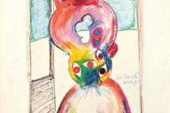 15419, der Besuch, Wachskreiden/Papier, 1972, 43x30 cm