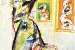 15476, in der Ausstellung, Wachskreiden/Papier, 1972, 61x43 cm