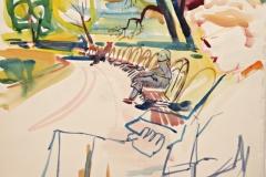 12141, Lesen im Park, Aquarell/Papier, 31x33,5 cm