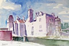 604, Chateau de Creully, 1989, Aquarell, 56,5 x 38 cm