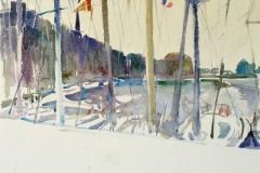634, Jachthafen, 1989, Aquarell, 50 x 40 cm