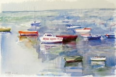 644, Lomener, Bootshafen, 1989, Aquarell, 56 x 37,5 cm