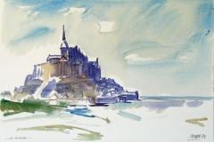 653, Monte-Saint-Michel, 1989, Aquarell, 56 x 38 cm