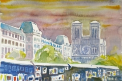 663, Paris, Notre Dame, 1989, Aquarell, 38 x 28 cm