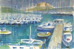 672, Antibes, Hafen, 1994, Aquarell, 57 x 38 cm