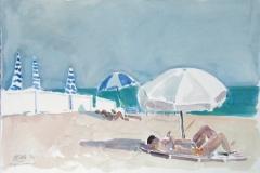 680, Cannes, Am Strand, 1994, Aquarell, 56 x 38 cm