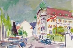 1581, Imst, Hotel Post, 1994, Aquarell, 56 x 38 cm