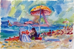 703, Strand bei Piran, 1983, Aquarell, 57 x 39 cm
