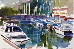 706, Opatija, Hafen, 1985, Aquarell, 38 x 28 cm
