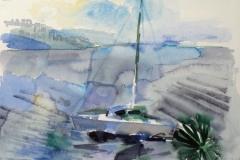 709, Bucht bei Opatija, 1985, Aquarell, 38 x 28 cm
