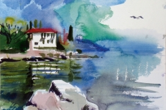 711, bei Opatija, 1985, Aquarell, 38 x 28 cm