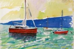 720, Segelboote im Hafen von Piran, 1983, Aquarell, 39 x 28,5 cm