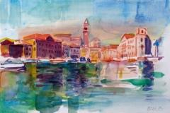 721, Hafen von Piran, 1983, Aquarell, 36 x 25 cm