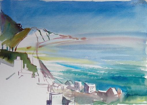 2054, Blick nach Lettoiano, 1992, Aquarell, 56 x 38 cm