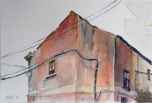 5056, Haus in Lettoiano, 1992, Aquarell, 48 x 33 cm
