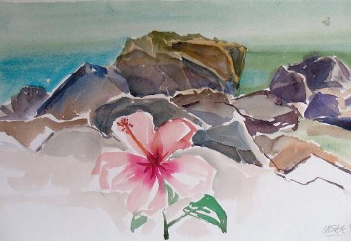 5060, an Siziliens Küste, 1992, Aquarell, 47,5 x 35 cm