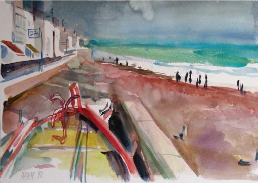 5064, Gewitterstimmung am Strand von Lettoiano, 1992, Aquarell, 56 x 38 cm
