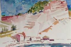 2042, Sizilien, Gischt, 1992, Aquarell, 40 x 30 cm