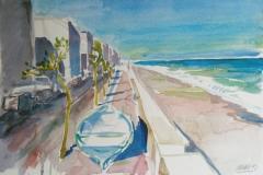 2048, Strandpromenade bei Lettoiano, 1992, Aquarell, 56 x 37,5 cm