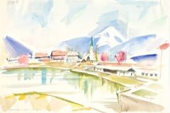 9093, Kirchberg Badesee, Aquarell, 1985, 38x56 cm