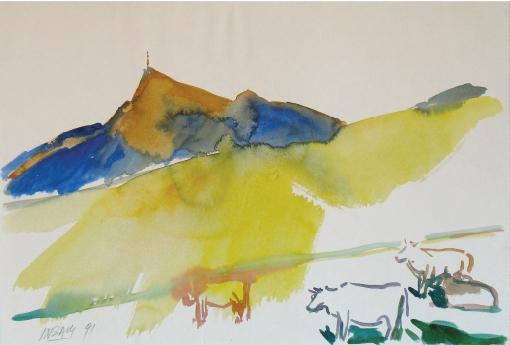 1036, Kitzbüheler Horn, 1991, Aquarell, 55,5 x 38 cm