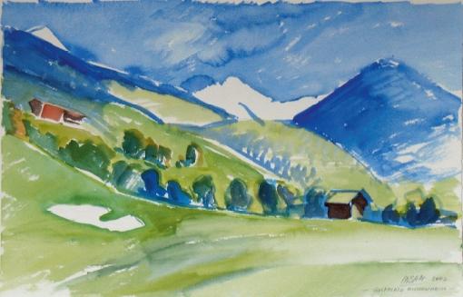 1121, Eichenheim, Goldplatz, 2002, Aquarell, 56,5 x 38 cm