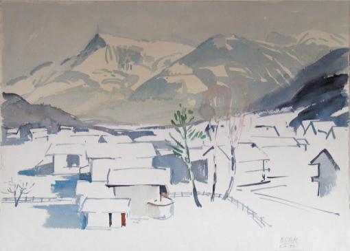 1149, Blick auf Kitzbüheler Horn, 1988, Aquarell, 76 x 56,5 cm