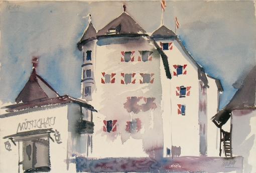 1240, Münichau, Aquarell, 57 x 38 cm