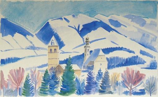 1389, Kitzbühel, Aquarell, 57 x 35 cm