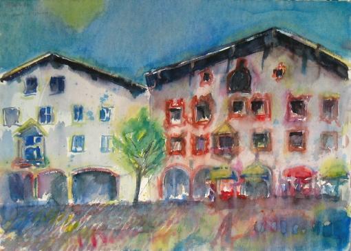 1530, Kitzbühel, Hinterstadt, 1983, Aquarell, 77,5 x 56,5 cm