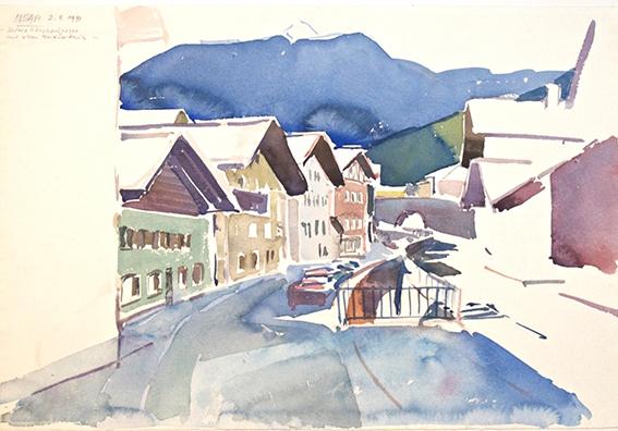 9130, Untere Gänsbachgasse mit Weidnerhaus, Aquarell, 38x57 cm