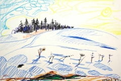 7879, Winter am Berg, 03.01.72, Wachskreide / Papier, 42,5x61 cm