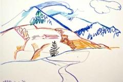 7880, Blick auf den Berg, 03.01.72, Wachskreide / Papier, 42,5x61 cm