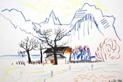 7881, Haus vor Berg, 03.01.72, Wachskreide / Papier, 42,5x61 cm