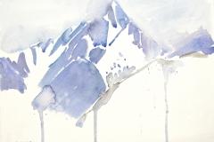 7453, Berg im Winter, Aquarell / Papier, 25x32,5 cm