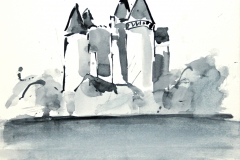 7476, Schloß, Aquarell / Papier, 29,5x30 cm