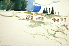 7540, Auf der Pack, 1980, Aquarell / Papier, 38,5x57,5 cm