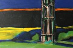 0041, Kirchturm in Wien, 56x60 cm, Acryl / Hartfaserplatte