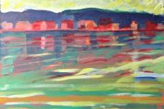 0659, Häuser am See, 65x50 cm, Acryl / Hartfaserplatte