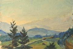0662, Auf dem Berg, 1943/44, 33,5x24,5 cm, Öl / Karton
