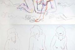 7005, Frauen Skizzen, Buntstift/Kohle/Papier, 76x53,5 cm