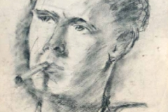 7013,  rauchender Mann, Um 1950, Kohle/Papier, 40x29,5 cm