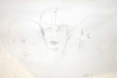 7020, Gespräch zu dritt, 1994, Kohle/Papier, 53x76 cm