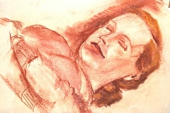 7031, schlafende Frau, Pastellkreide/Papier, 29,5x42 cm